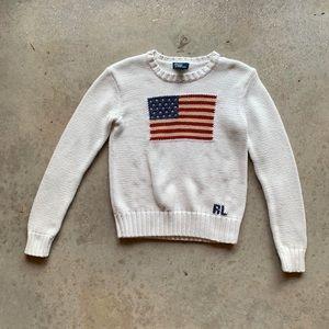 Polo Ralph Lauren Knit American Flag Sweater white